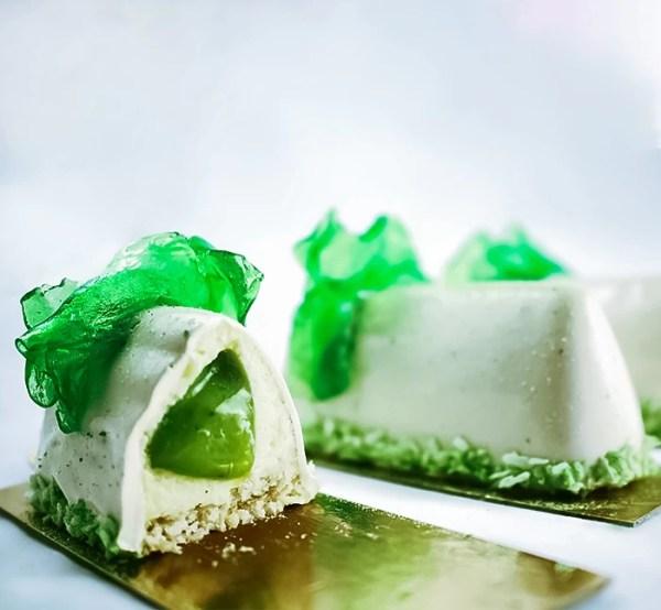 Coconut Crémeux with Green Grapes Pâte de Fruit on Coconut Joconde ~ Lo Estro Dessert
