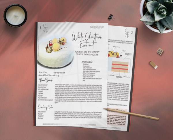 Almond Joconde with Cranberry Gellee on Coconut Dacquoise ~ White Christmas Entremet Recipe