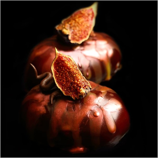 Chocolate Mousse with Orange Bavarois Cream on Fig Brownie ~ Gloria Desserts