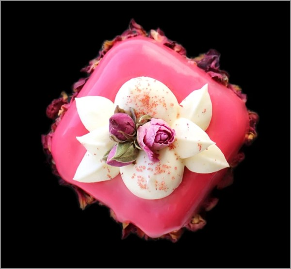 Strawberry Mousse with Rosewater and White Chocolate Cream on Lemon Financier ~ Le Bouquet Dessert