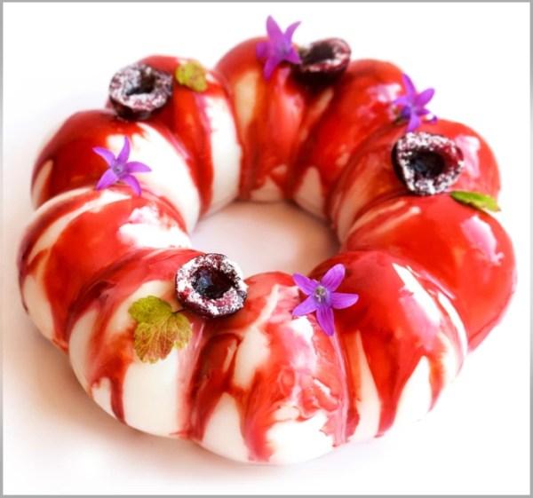 Cherry Crémeux and White Chocolate Vanilla Mousse on White Chocolate Blondie ~ Cherry Cloud Cake