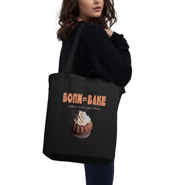 Born To Bake Black Eco Tote Bag with Hazelnut Cupcake