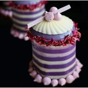 Plum Mousse with Cherry Pâte de Fruit and Meringues on Plum Financier ~ The Merveilland Desserts