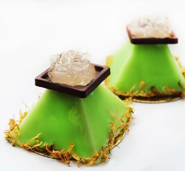 Lime Soda Mousse and Mint Jelly on Lime Financier ~ Mojito Dessert Recipe