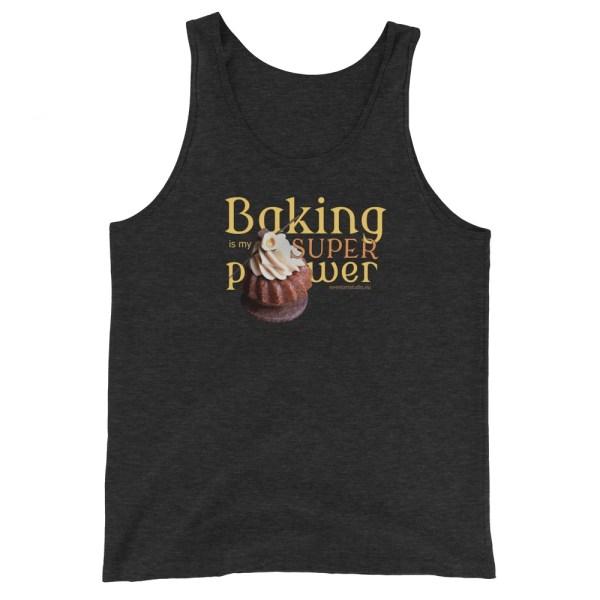 Baking Is My Superpower Unisex Tank Top with Hazelnut Cupcake