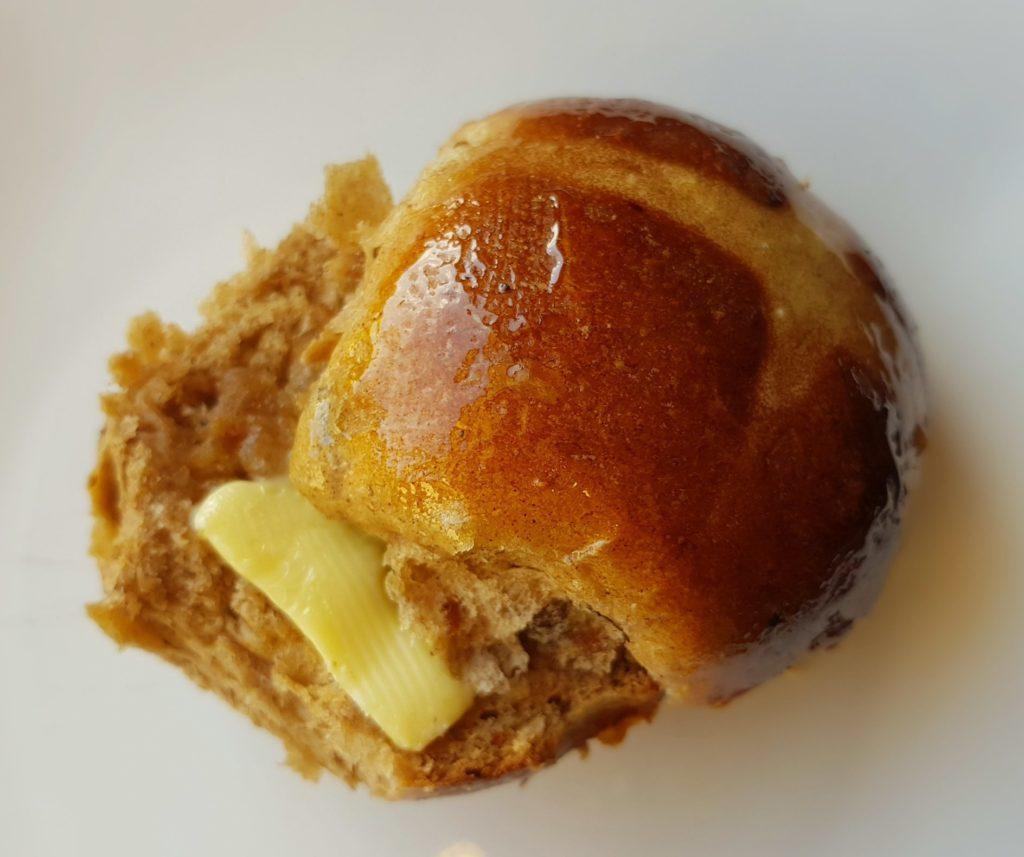 buttered hot cross bun