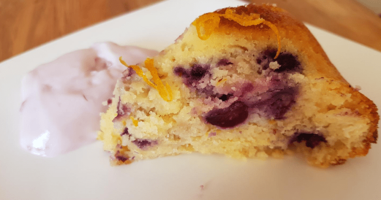 Blueberry and lemon syrup cake