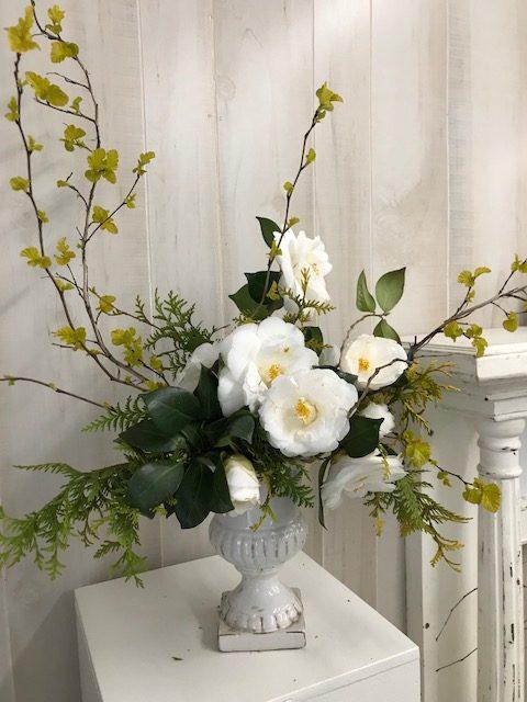 White camellias and 'Gold Dart' ninebark