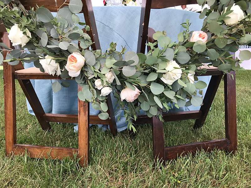 Pink and Green Chair Swag for Table by Sweetbay Flowers | Eastern Shore Florist