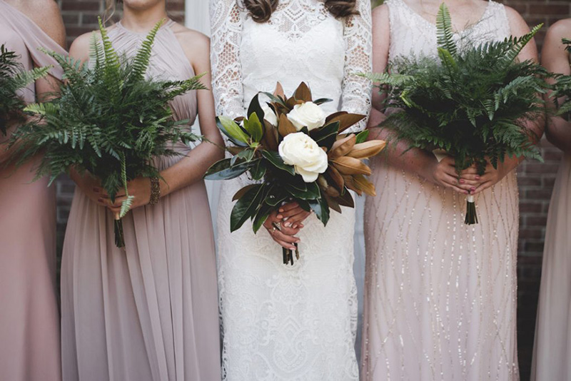 Glamorous Magnolia and Fern Fall Inspired Bridal Flowers by Sweetbay Flowers | Eastern Shore Florist|