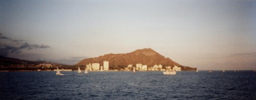 The spectacular view of Diamond Head, as seen from a dinner cruise.