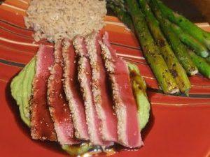 Recipe Swap (FC Day 10) – Seared Wasabi-Sesame Tuna with Avocado Cream & Maple Soy Sauce