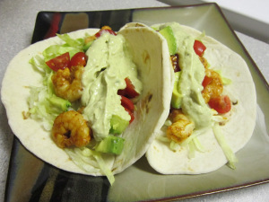 Spicy Citrus Shrimp Tacos with Southwest Avocado Cream Sauce