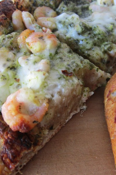 Shrimp & Pesto Pizza with Herbed Goat Cheese