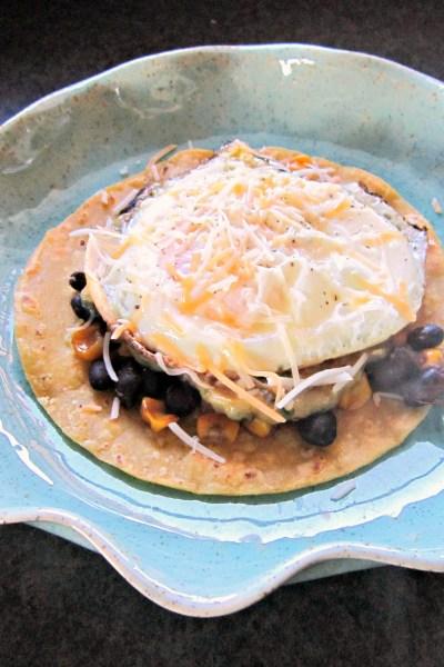Caramelized Corn & Black Bean Huevos Rancheros with Roasted Zucchini Salsa