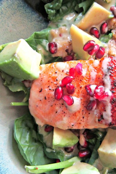 Super-foods Salad with Pan-seared Salmon