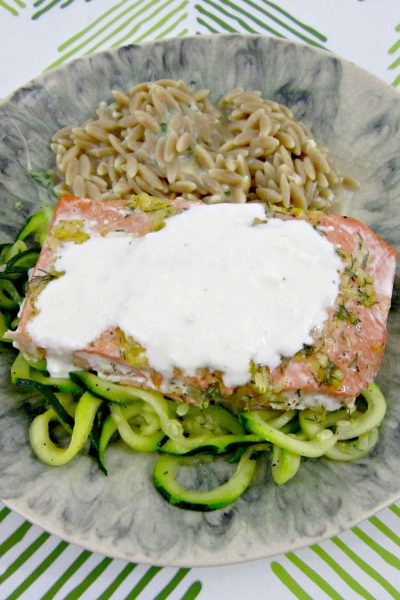 Lemon-Dill Salmon with Creamy Feta Sauce