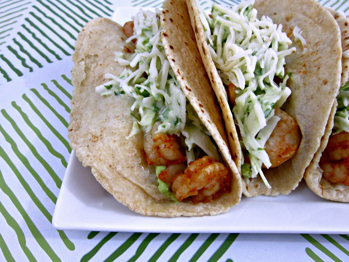 Taco Tuesday: Spicy Shrimp Tacos with Garlic Cilantro Lime Slaw
