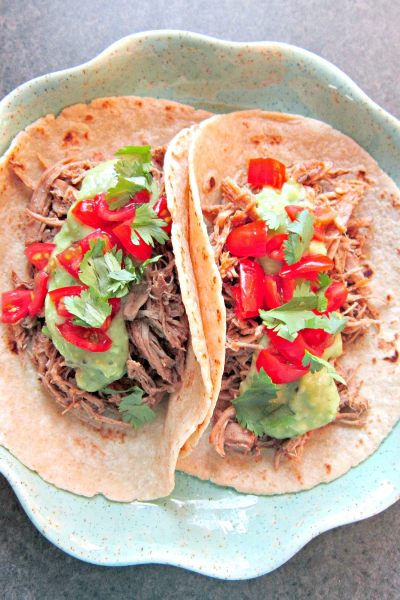 Taco Tuesday: Jerked Sriracha Pulled Pork Tacos with Creamy Kiwi Avocado Salsa Verde