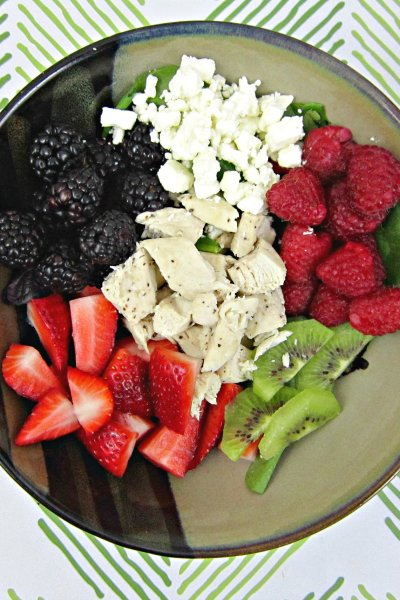 Chicken, Berry, and Feta Spinach Salad