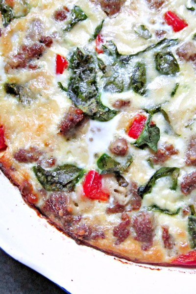 What's Baking: Crustless Zesty Italian Venison Sausage, Spinach, and Red Pepper Quiche