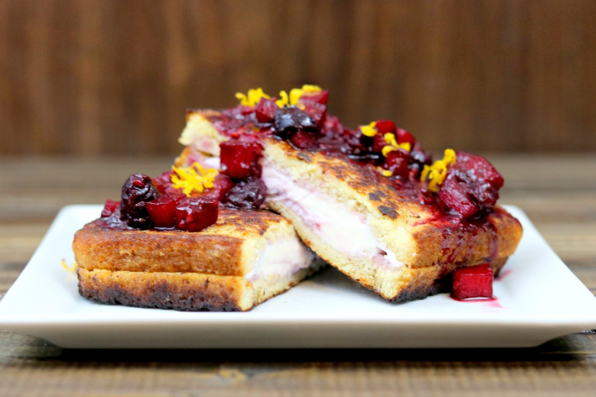Berry & Cream Cheese Stuffed French Toast with Citrus-Apple-Berry Compote #BrunchWeek