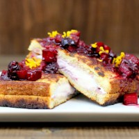 Berry & Cream Cheese Stuffed French Toast with Citrus-Apple-Berry Compote