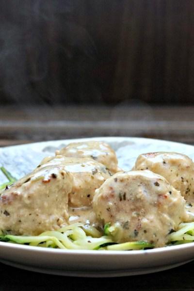 Creamy Pesto Turkey Meatballs