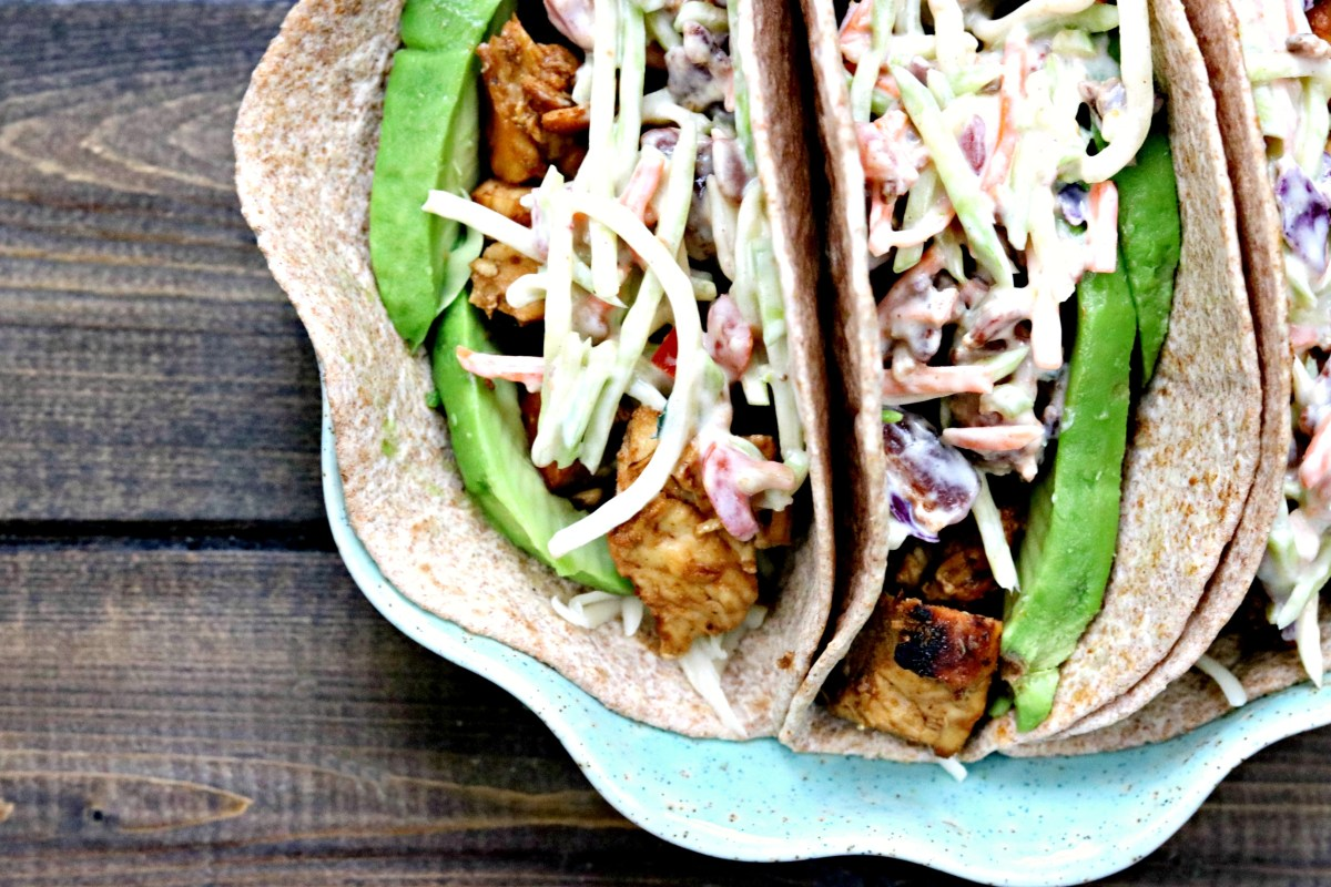 Honey Chipotle Chicken Tacos with Honey Mustard BLT Slaw