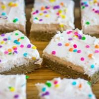 Sugar Cookie Bars with Peach Frosting #BrunchWeek