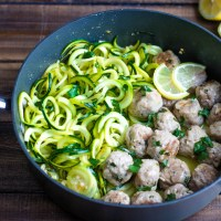 Turkey Meatballs with Lemon Butter Zoodles