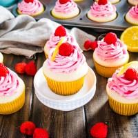 Lemon Cupcakes with Raspberry Buttercream #SpringSweetsWeek