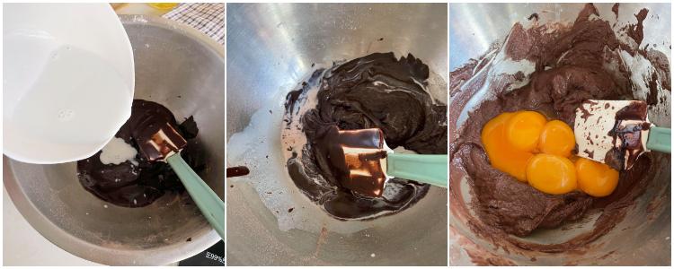 巧克力戚風蛋糕食譜(圖解步驟)加入牛奶與蛋黃混合