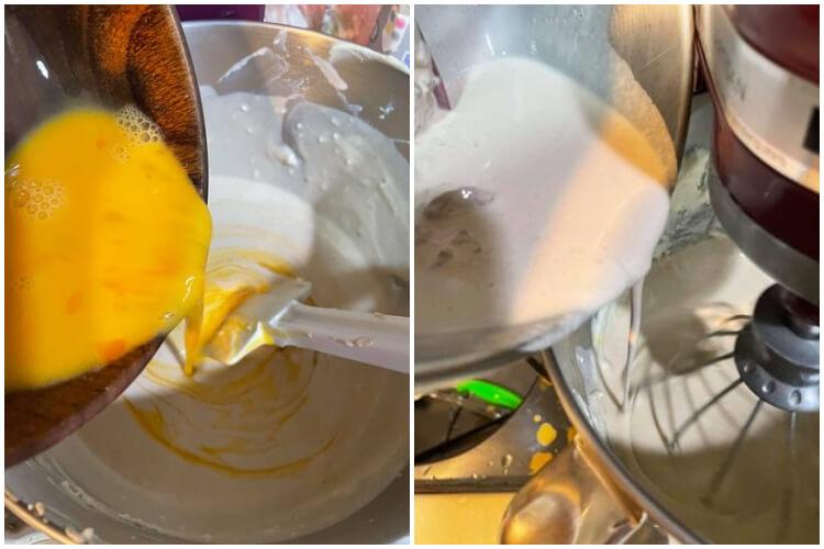 製作巴斯克乳酪蛋糕時,蛋液要分次慢慢加才不會油水分離