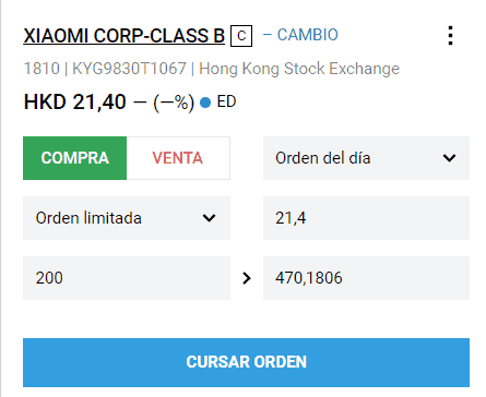 Inversión en bolsa china: ticket de Xiaomi
