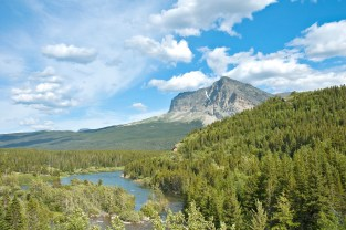 Glacier National Park, Long View, Stream, Mountain, Big Sky, Clouds