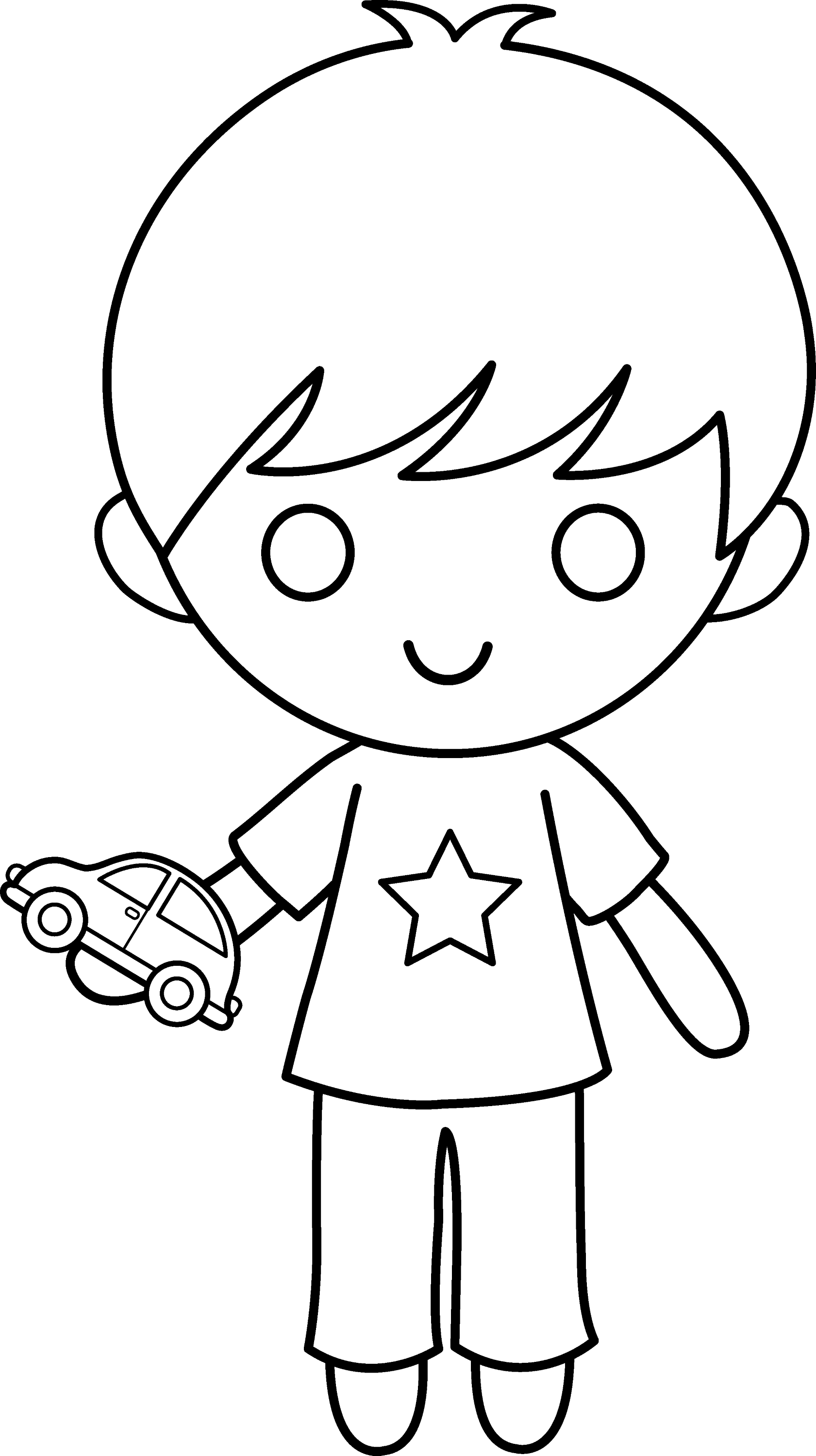 Boy With Toy Car Coloring Page