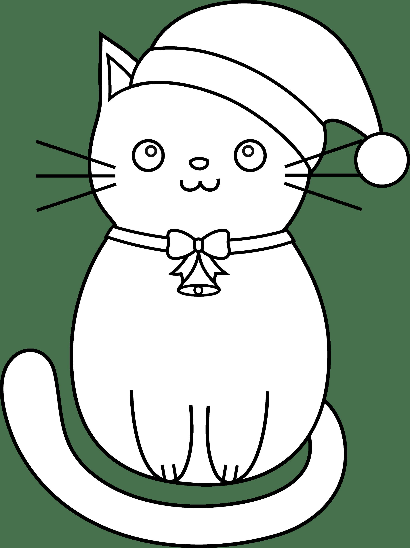 Christmas Cat Line Art