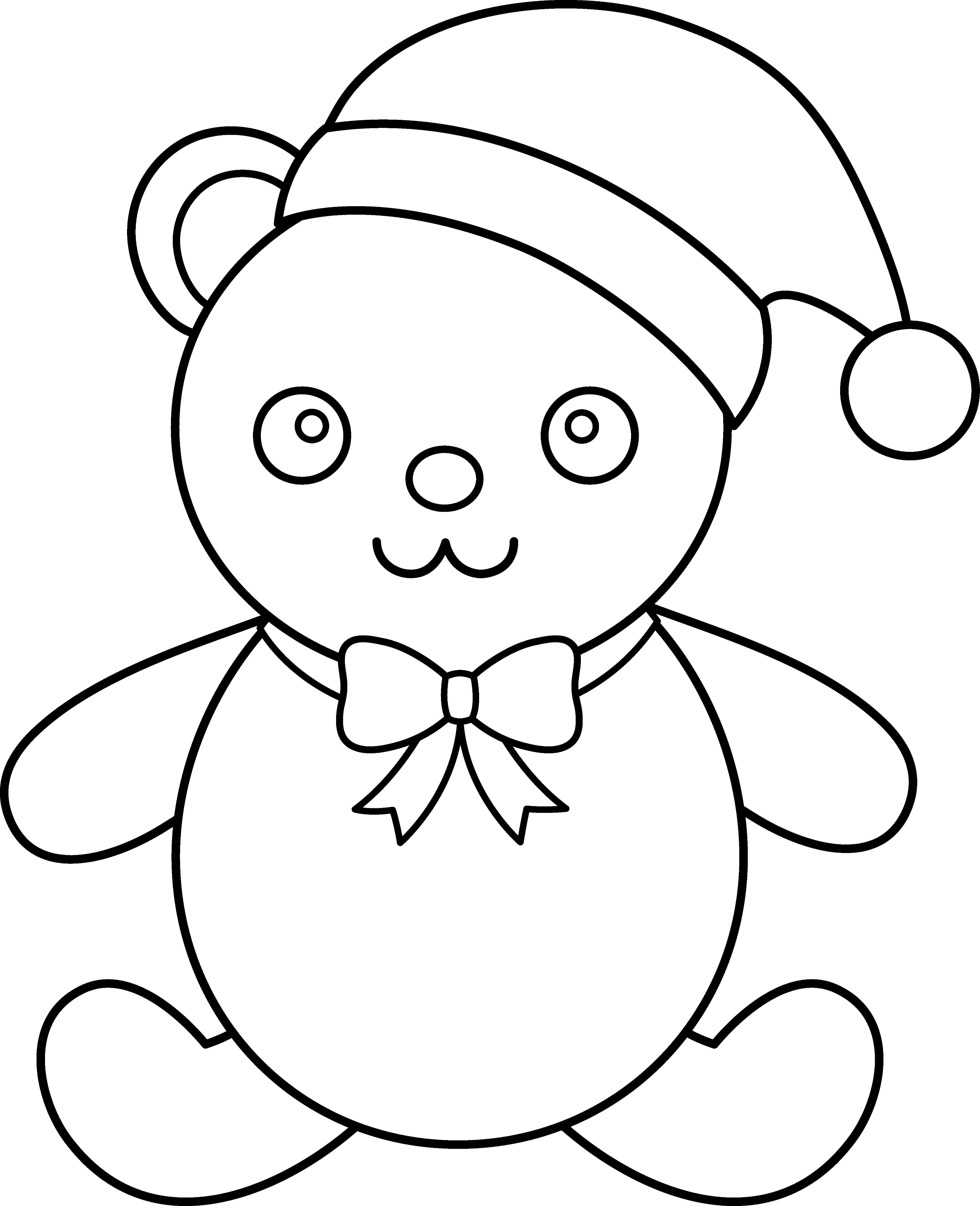 Christmas Teddy Bear Line Art