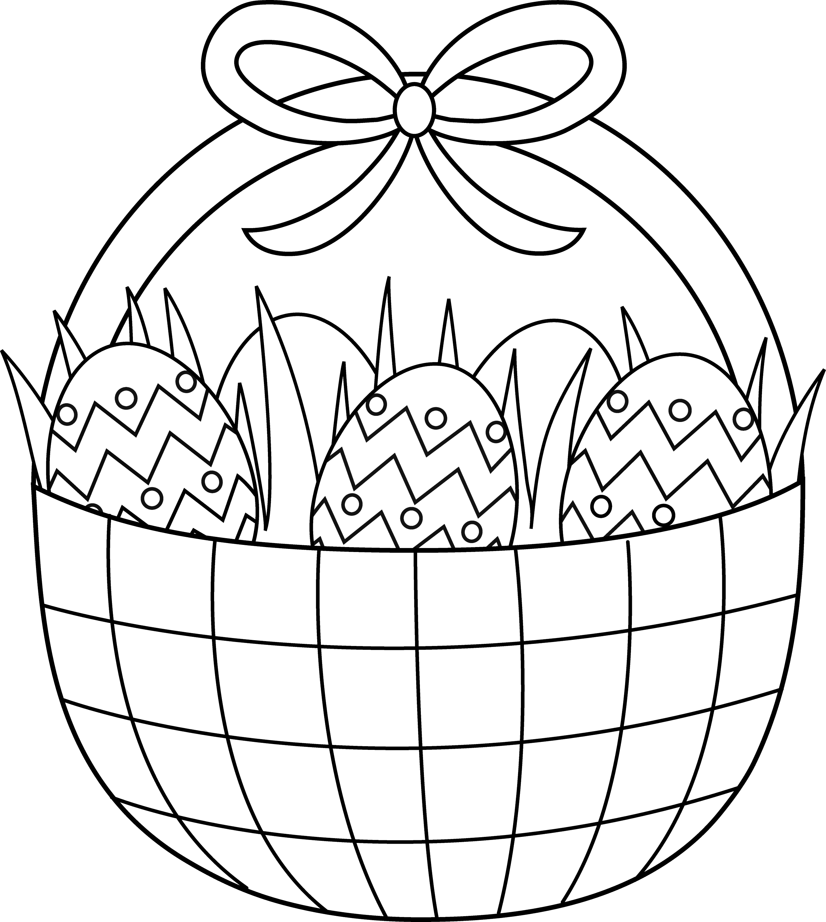 Easter Basket Coloring Clip Art Cliparts