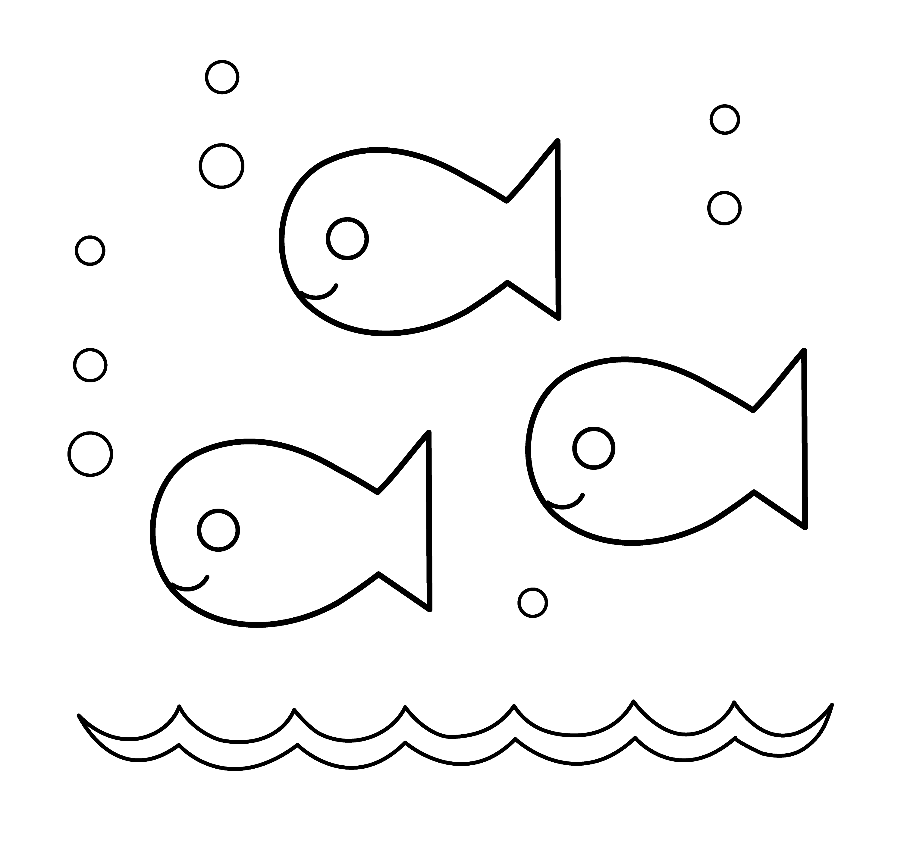 Cute Fishies Coloring Page Free Clip Art