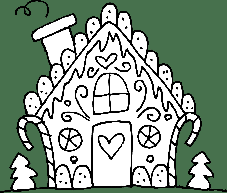 Cute Gingerbread House Line Art