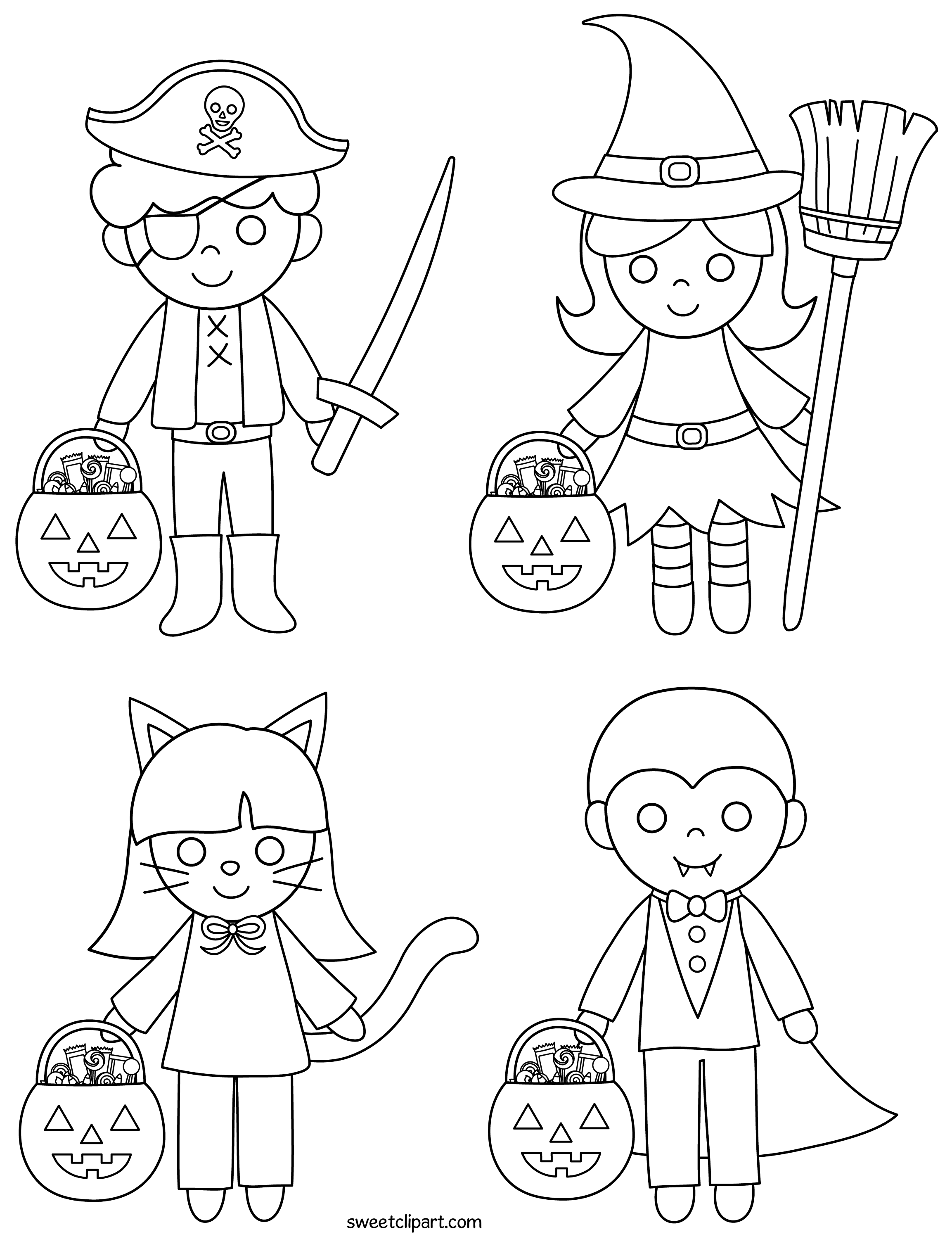 Halloween Kids Coloring Page