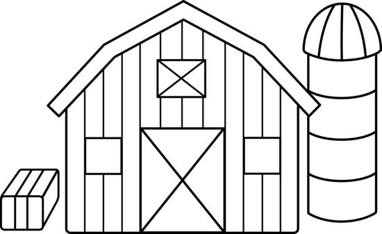 cute colorable farm scene  free clip art