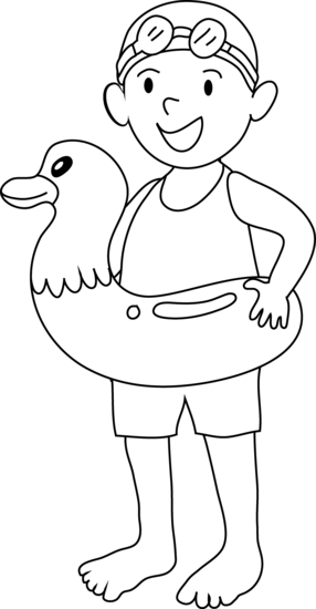 Coloring Page Of Kid Going Swimming Free Clip Art