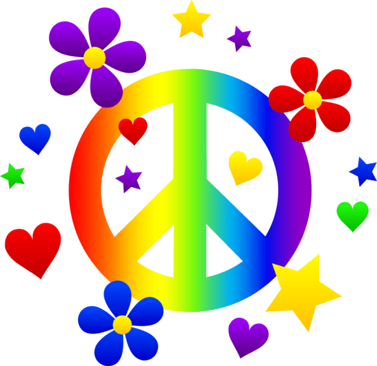 Peace Sign With Flowers Hearts And Stars Free Clip Art