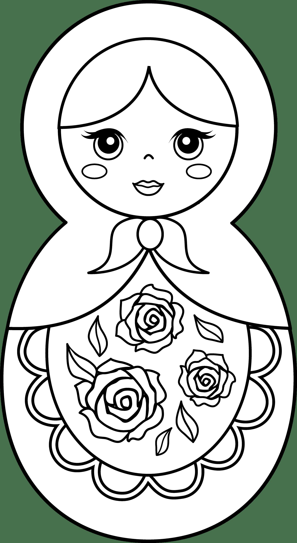 matryoshka doll coloring page free clip art