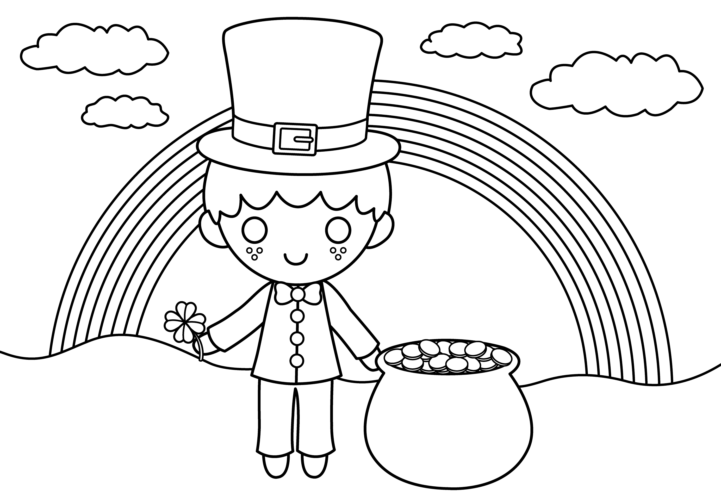 Cute St Patricks Coloring Page