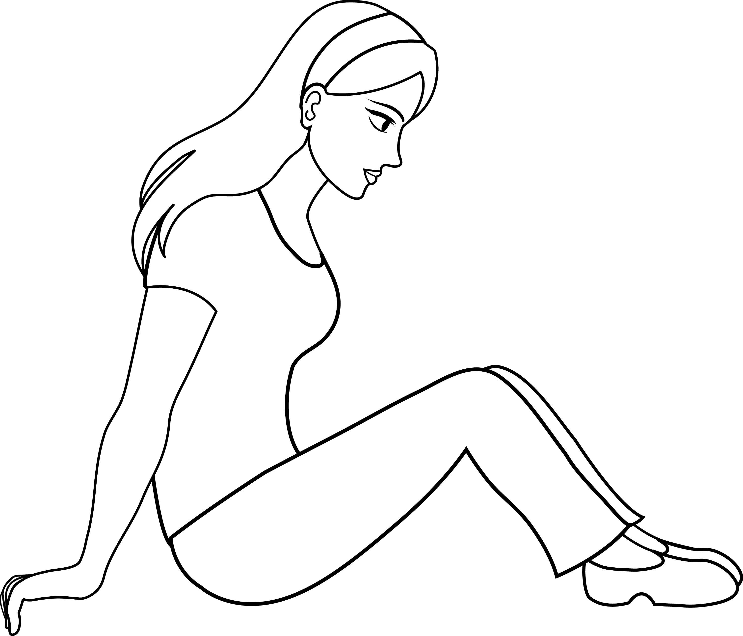Colorable Line Art Of Sitting Woman