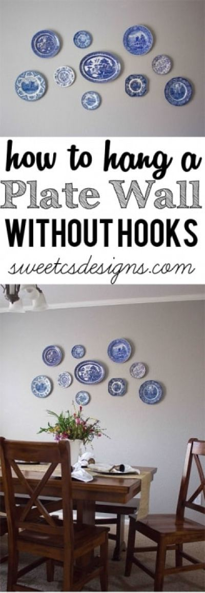 How To Hang A Plate Wall Without Hooks Sweet C S Designs